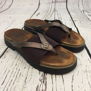 NAOT Orion Brown Stretch Thong Sandals